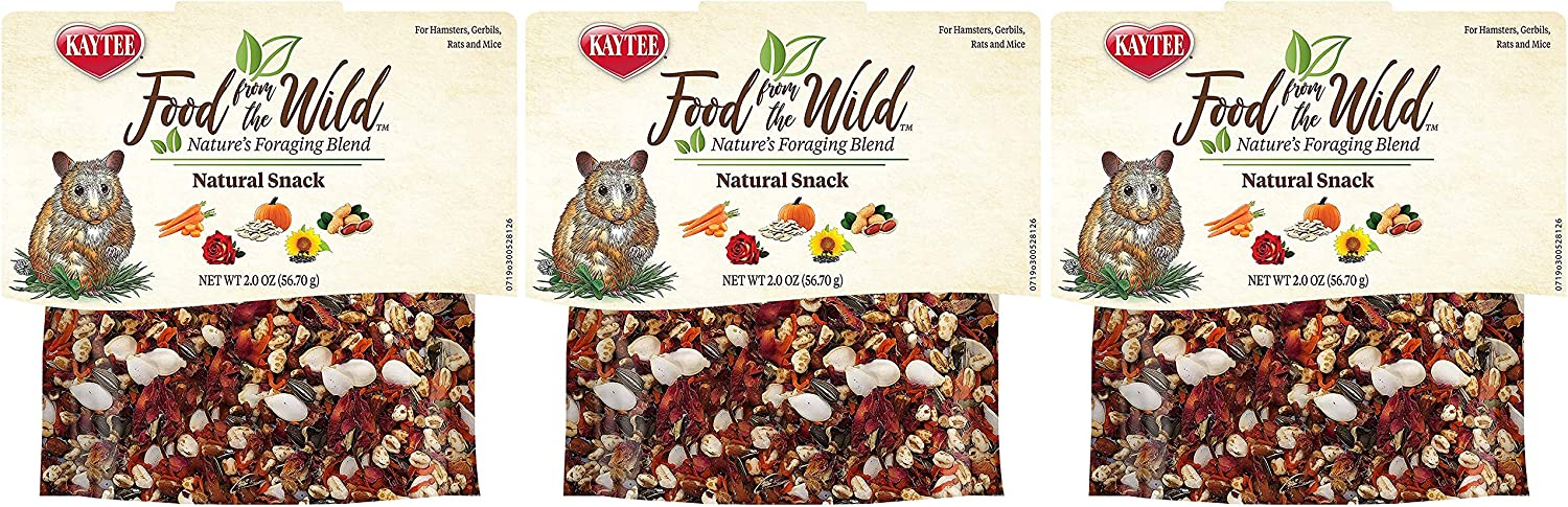 Kaytee 3 Pack of Food from The Wild Natural Snack, 2 Ounces Each, Foraging Treat for Hamsters, Gerbils, Rats and Mice