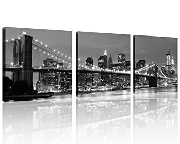QICAI 3 Panel New York Skyline Wall Art New York Wall Art NYC Wall Art Black