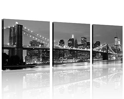 83281df3fc1 QICAI 3 Panel New York Skyline Wall Art New York Wall Art NYC Wall Art Black