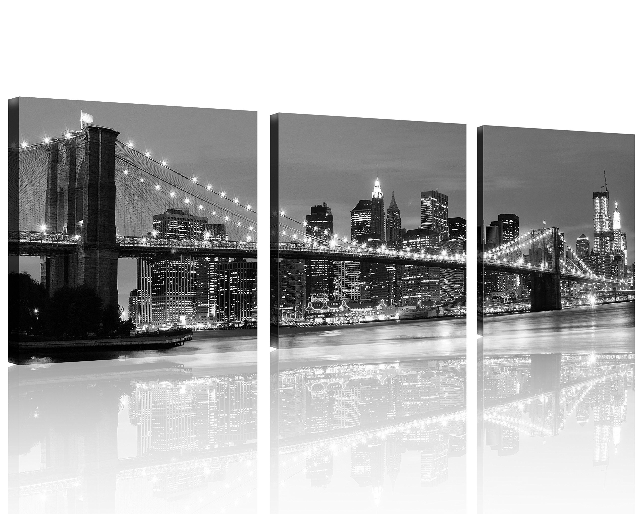 QICAI 3 Panel New York Skyline Wall Art New York Wall Art NYC Wall Art Black and White Manhattan Skyline and Brooklyn Bridge Canvas Art Home Decor Stretched and Framed for Home Wall Decor,3 Panel/Set