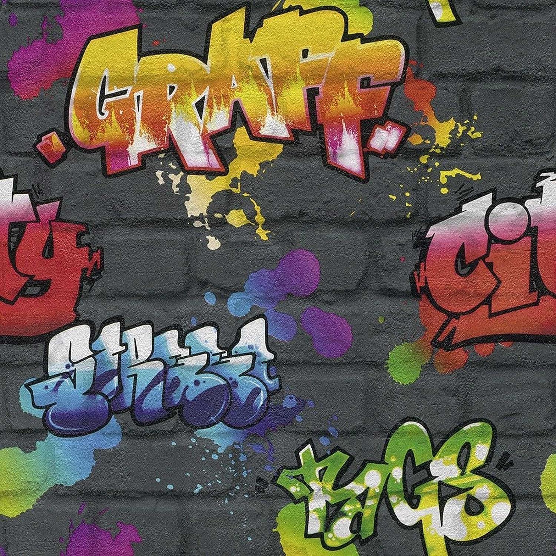 Rasch Graffiti Wallpaper - Black 237801: Amazon.co.uk: DIY & Tools