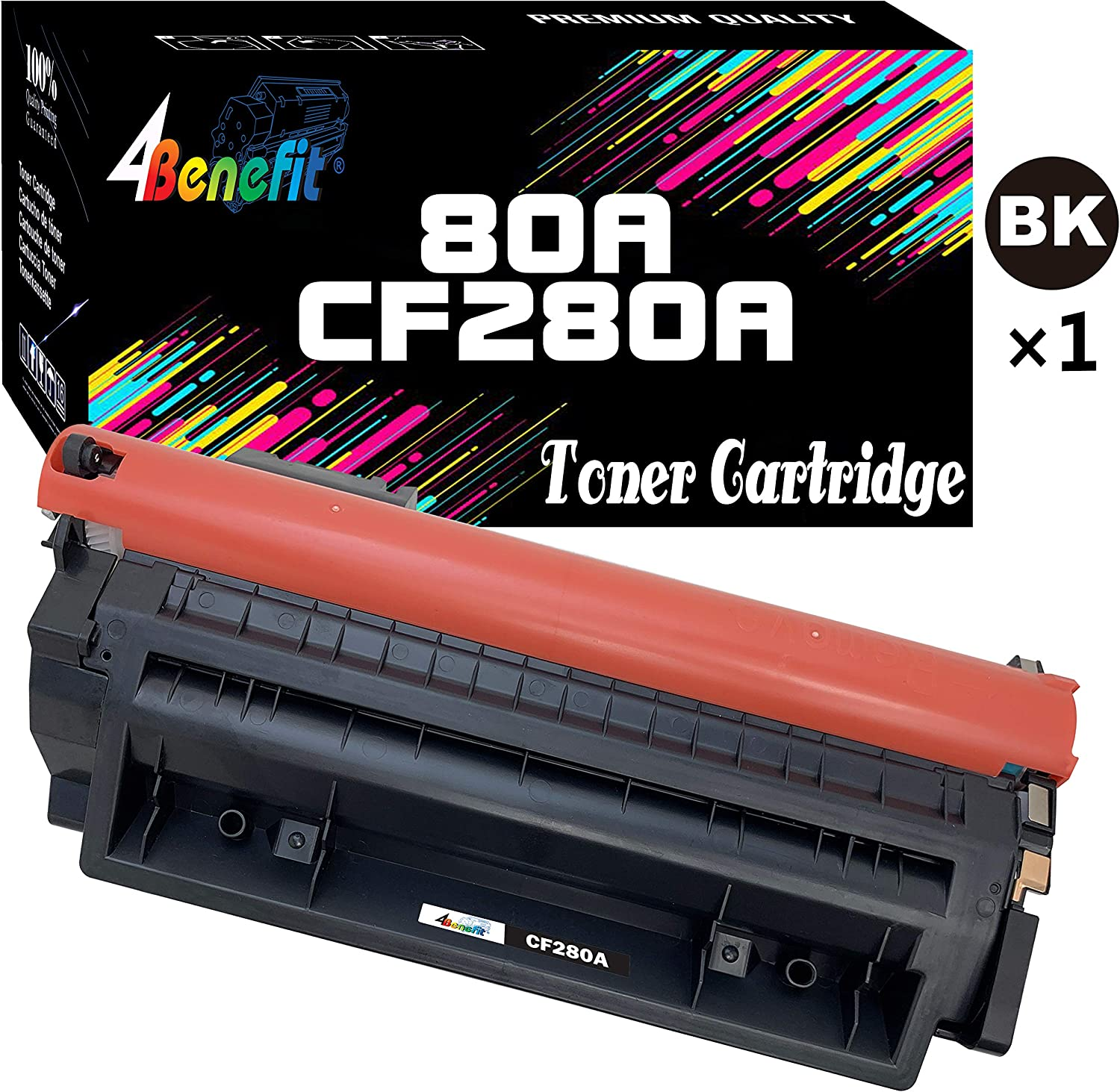 4Benefit Compatible Toner Cartridge Replacement for HP 80A CF280A 80X CF280X to Used for HP Laserjet Pro 400 MFP M425d M425dw M401n M401dw M401dne M401dn Printer (1-Pack, Black)