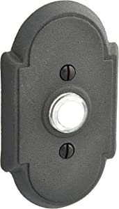 Wrought Steel Colonial Style Buzzer Button In Matte Black. Door Bell Push Button.