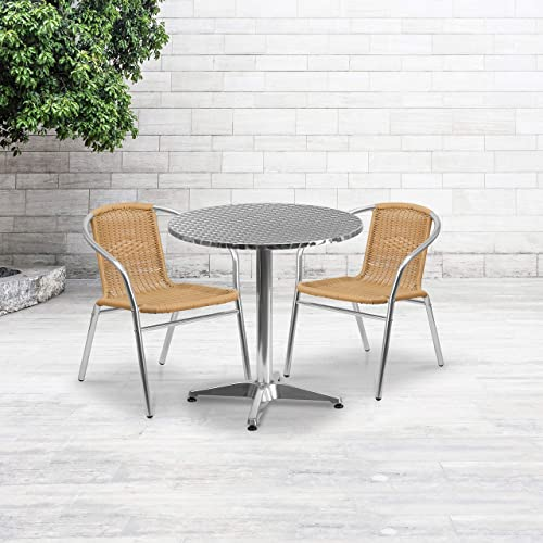 Flash Furniture 27.5 Round Aluminum Indoor-Outdoor Table Set with 2 Beige Rattan Chairs