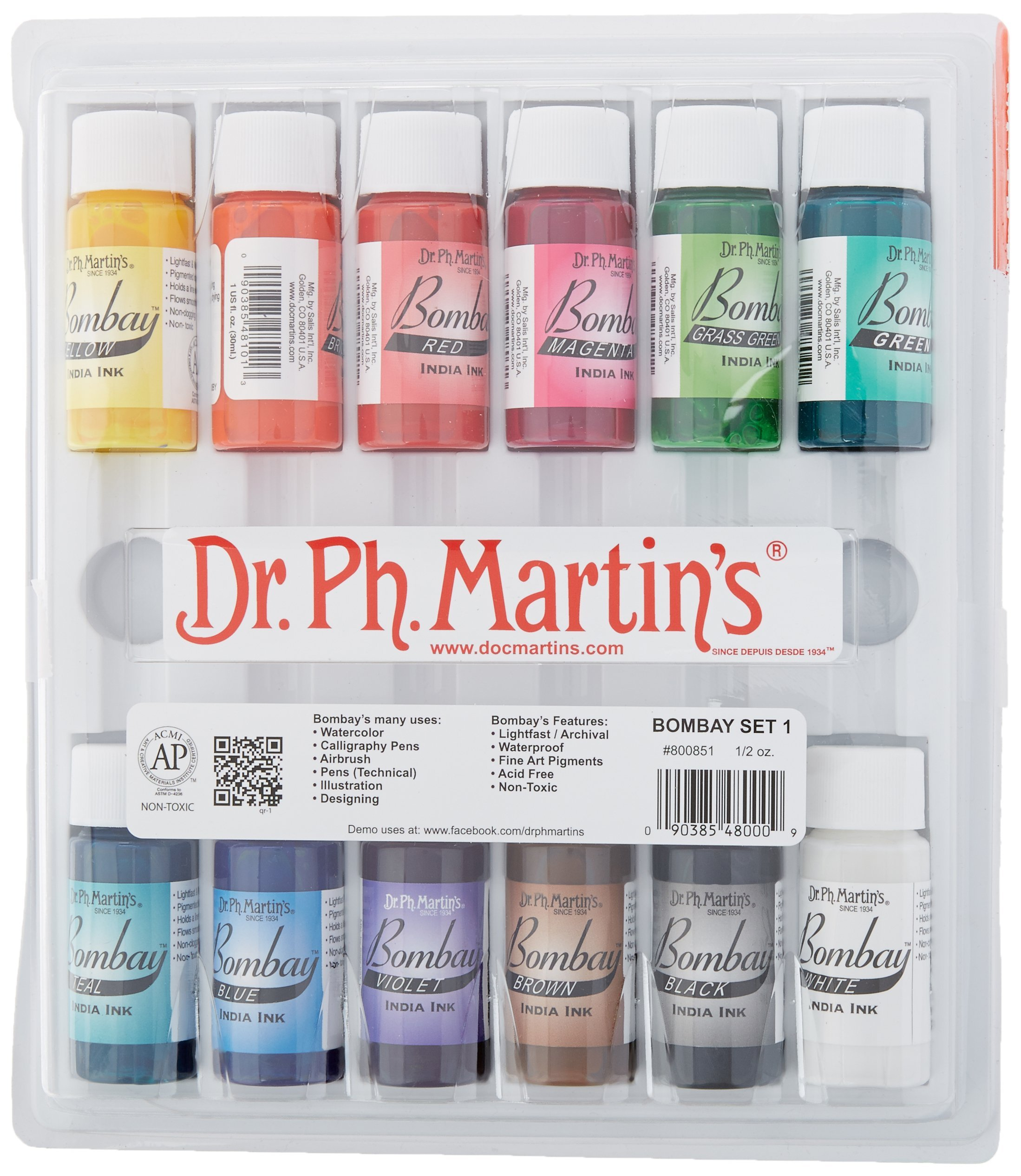 Dr. Ph. Martin's Bombay India Ink (Set 1) Ink Set, 0.5 oz, Set 1 Colors, 1 Set of 12 Bottles by Dr. Ph. Martin's