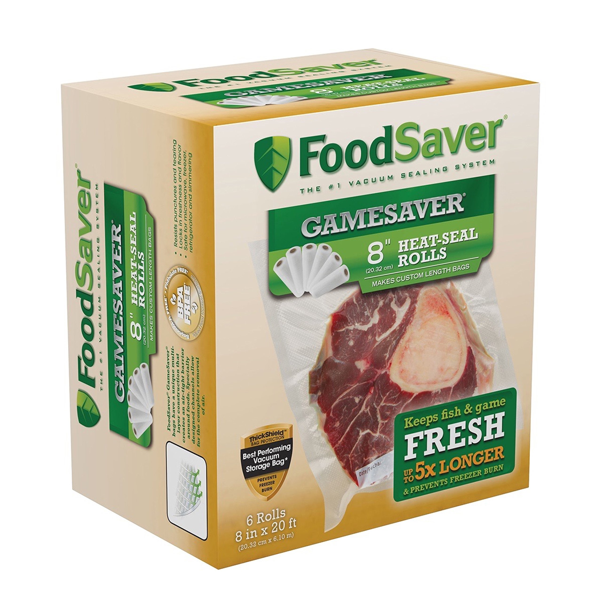 FoodSaver 8'' x 20' GameSaver Long Heat-Seal Rolls, 8 Inches by 20 Feet, 6-Pack