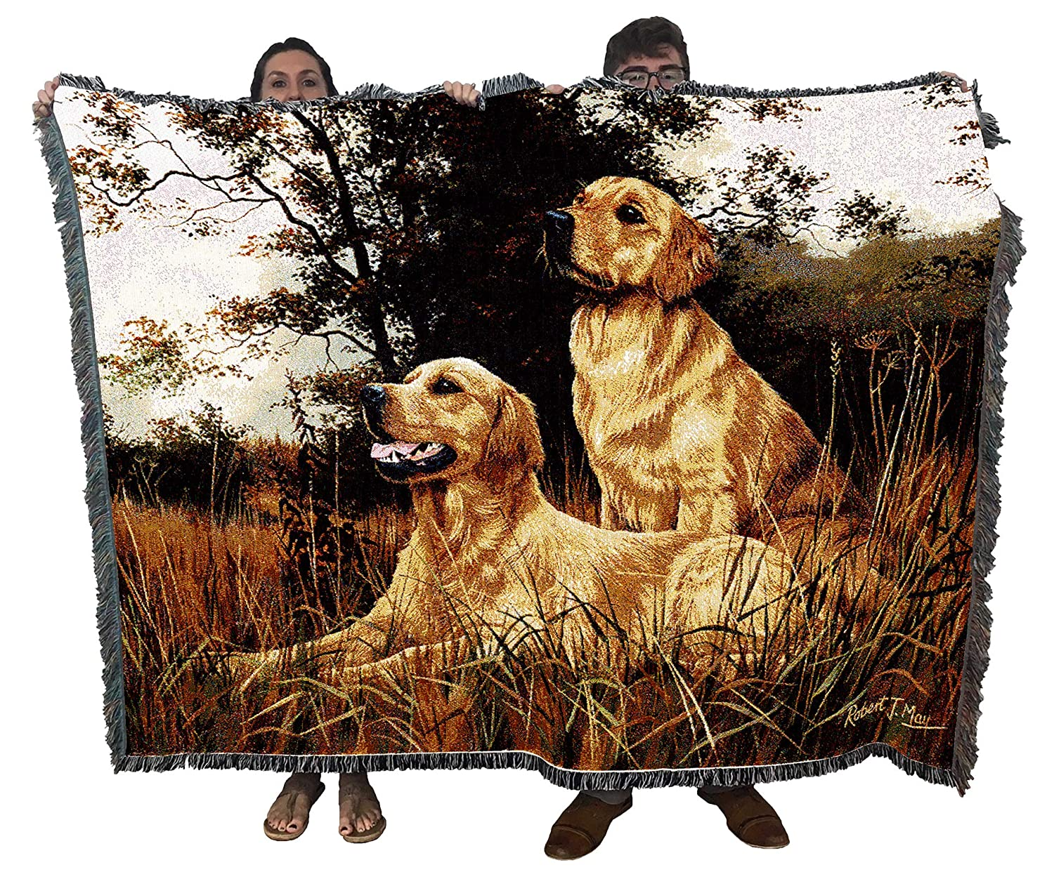 Pure Country Weavers - Golden Retriever Woven Tapestry Throw Blanket with Fringe Cotton USA Size 72 x 54