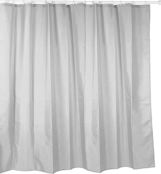 Cortina de ducha de tela ((poliéster) 180 x 200 cm uni gris/gris claro impermeable antimoho para lavable/bañera cortina cortina, alta calidad con anillos y peso: Amazon.es: Hogar