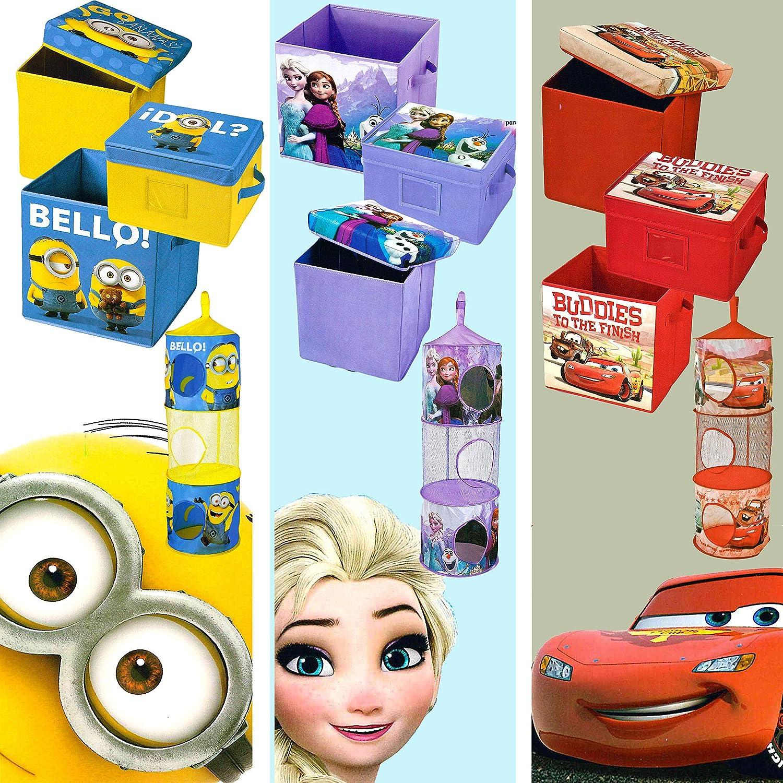 Universal 4X Teile Kinderzimmer Set von Frozen Disney 1x Sitzkiste mit Deckel Frozen 1x Box mit Deckel Cars Minions- 1x Aufbewahrungsbox,1x H/ängeorganizer