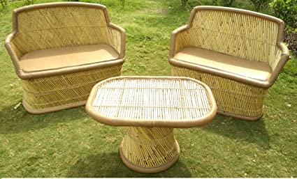 PatioStack Bamboo Outdoor Vintage Rattan & Wicker Sitting ...