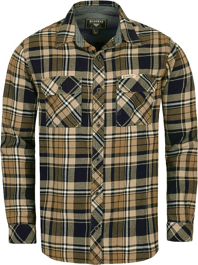 Front SwitchMan Hombre Outdoor Tiempo Libre Camisa Vassar de franela algodón camisa cuadros Camel o naranja, color marrón claro, tamaño XXXXL: Amazon.es: Deportes y aire libre