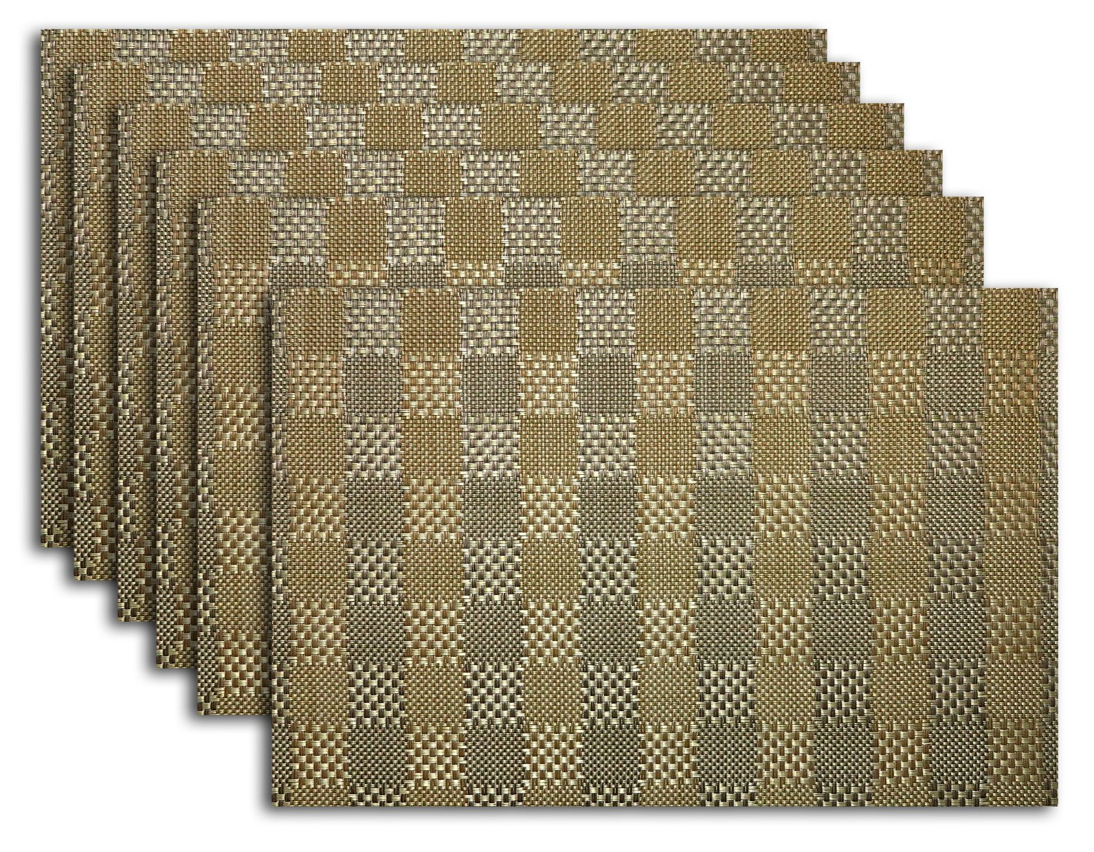 Placemat Set of 4/6 Reversible Square Check Plaid Style Kitchen Table Decor Woven Vinyl Table Placemats Set Home Dinner Decorative by Secret Life (6, Check Gold) - HOME UPGRADE - This woven placemat are most prefect and easy way to upgrade yours kitchen decor and kitchen set. These vinyl placemats are made of high grade vinyl, each piece die cut for precise edges. EASY STORAGE - 4 or 6 pieces table mat multiply to cover a 6' table dinner or larger. Each placemat are measured approx 1 millimeters, stack them together for easy and minimal storage space, lots of vibrant colors and pattern to easily change kitchen or dining room's decorative theme. IMPRESSIVE - They are beautiful made for outdoor and indoor use thanks to its water resistant super easy to clean fast drying features, imagine a patio party with these lovely placemats on the table would impress all those guests, not to mention spill s and stains just wipe right up. - placemats, kitchen-dining-room-table-linens, kitchen-dining-room - 91xRwJtv3UL -