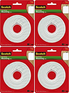 product image for Scotch Permanent Mounting Tape, 1 Inch x 125 Inches Pack of 4