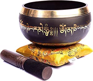Tibetan Singing Bowl Set - Easy To Play Authentic Handmade For Meditation Sound Chakra Healing By Himalayan Bazaar