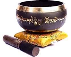 Tibetan Singing Bowl Set - Easy To Play Authentic Handmade For Meditation Sound 7 Chakra Healing By Himalayan Bazaar