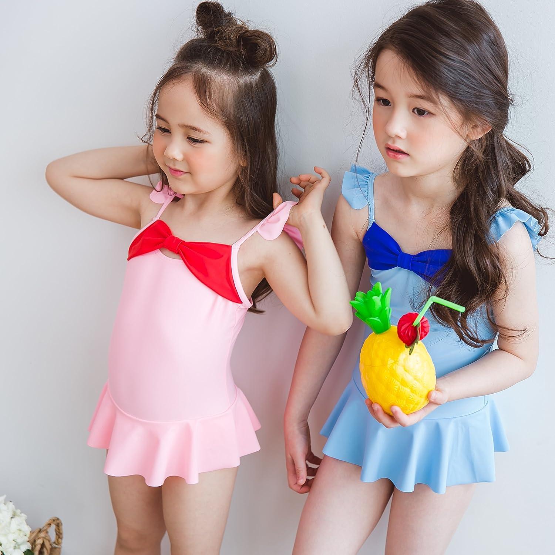 Tablier Kids Girls Ribbon Tie One Piece Swimsuit