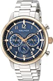 Nautica Men's 'NCT 15 CHRONO' Quartz Stainless Steel Casual Watch, Color:Silver-Toned (Model: NAD19537G)