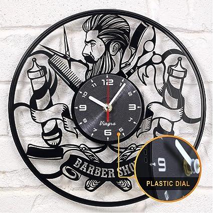 Barber Shop Reloj Disco de Vinilo Hipster Peluquería Peluquería Salón de  Belleza Vinilo Reloj Decor Art 2ca1ebc9c32