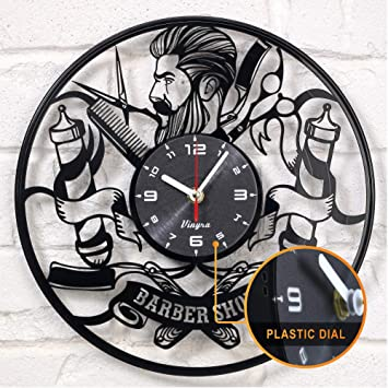 Amazon Barber Shop Clock Vinyl Record Hipster Hairdresser Hair
