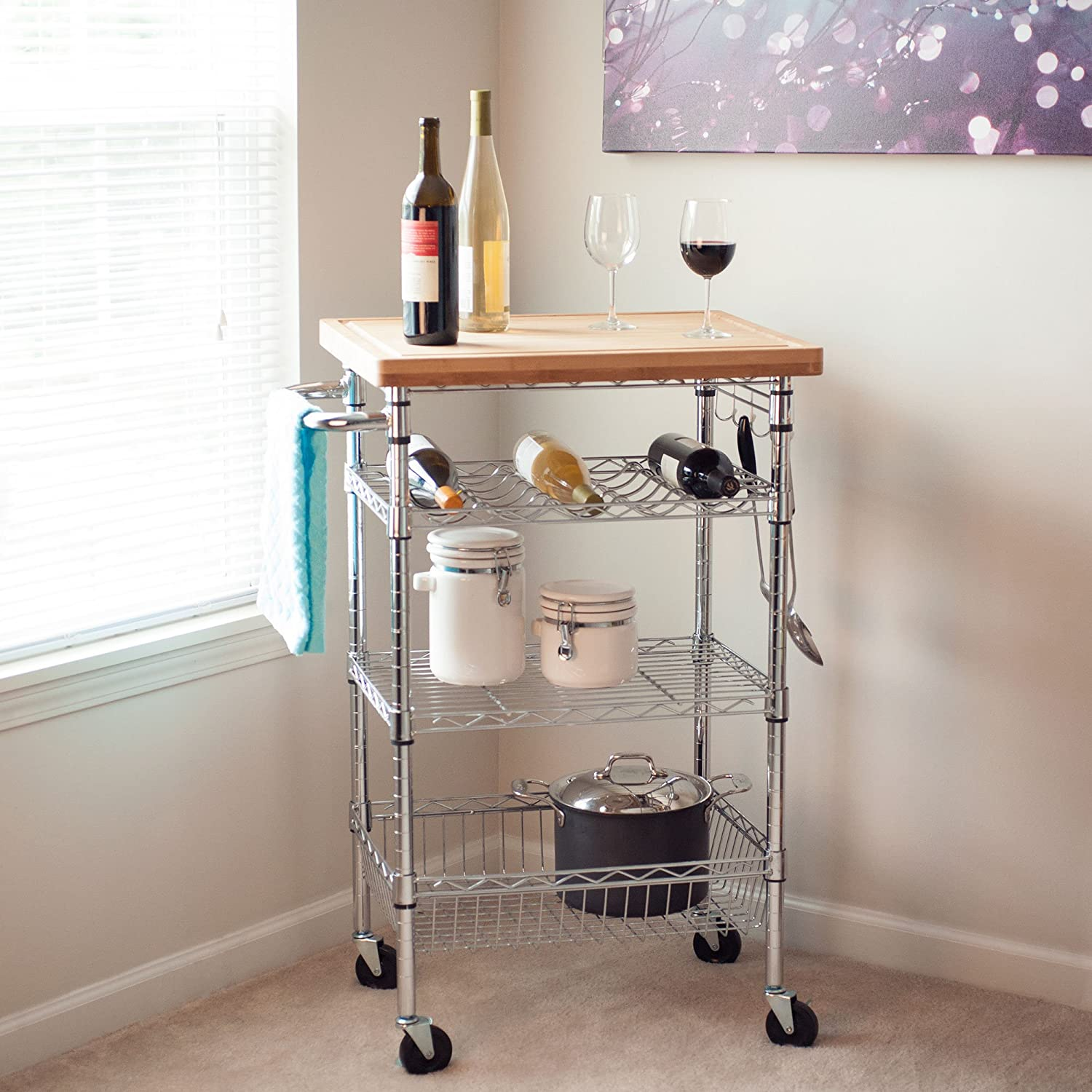Amazon Lavish Home Chrome Wine Dining Cart with Butcher Block