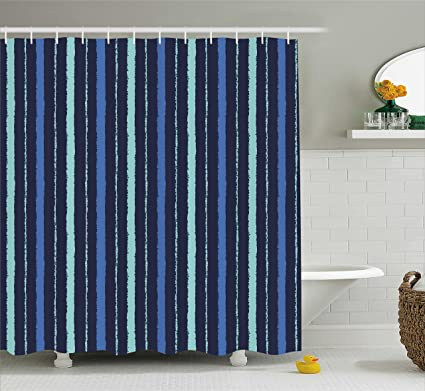 Lunarable Blue Shower Curtain Abstract Thick And Thin Lines Stripes Navy Sea Life Inspired Image