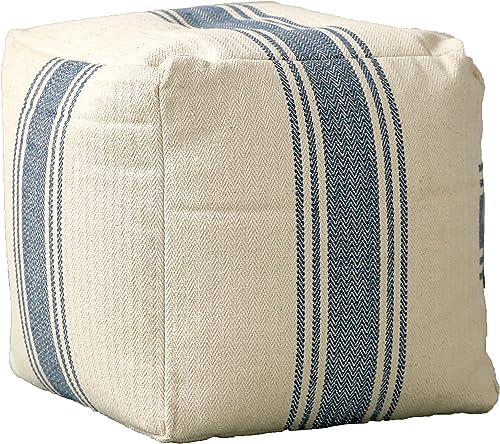 Creative Co-op Cream Blue Stripes Pouf