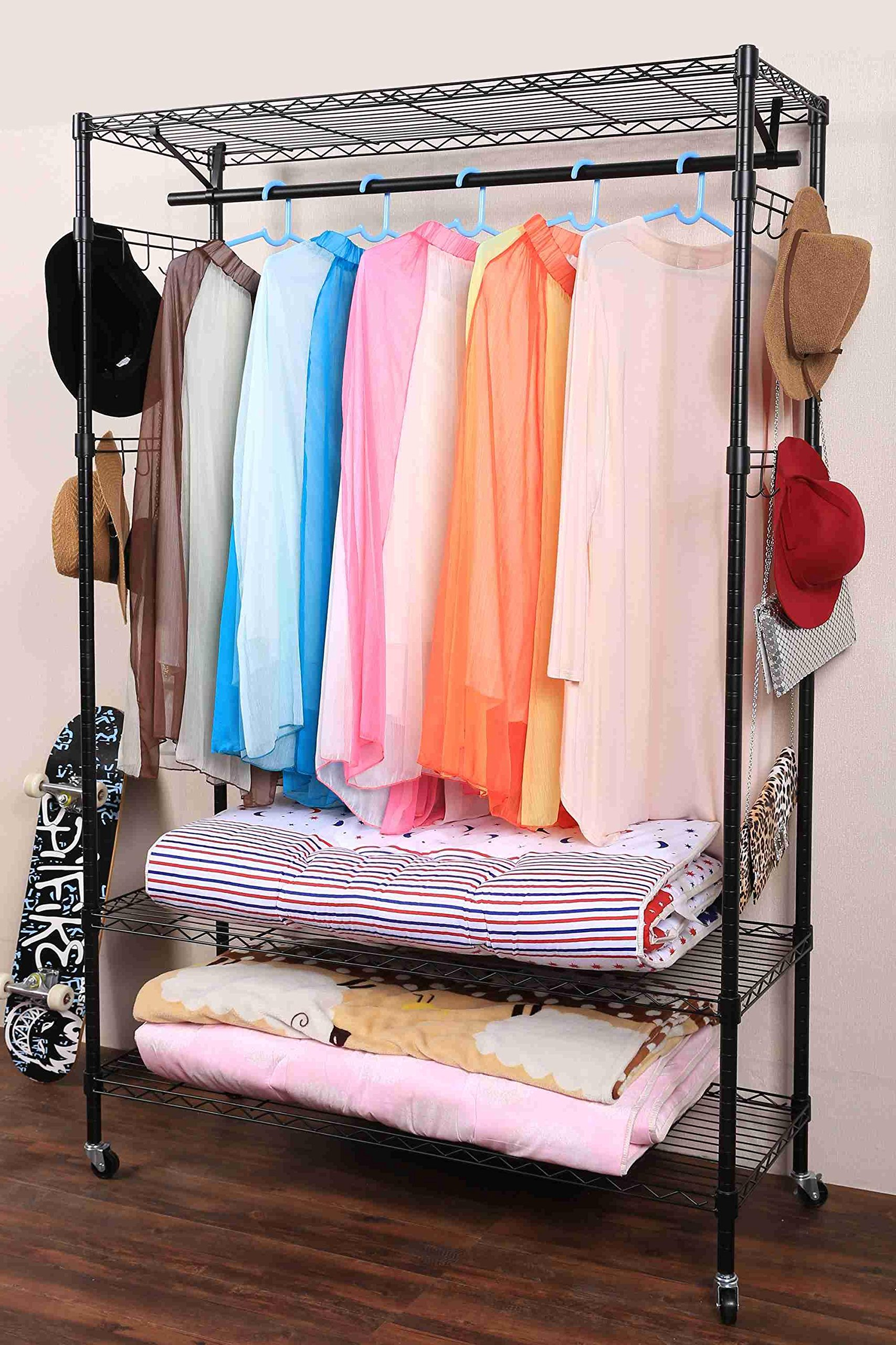 Fashine Heavy Duty Wire Shelving Clothing Rolling Rack, Moveable 3-Tiers Garment Rack for Closet Organizer with Hanger Bar Wheels Adjustable Shelves and Side Hooks (US Stock)