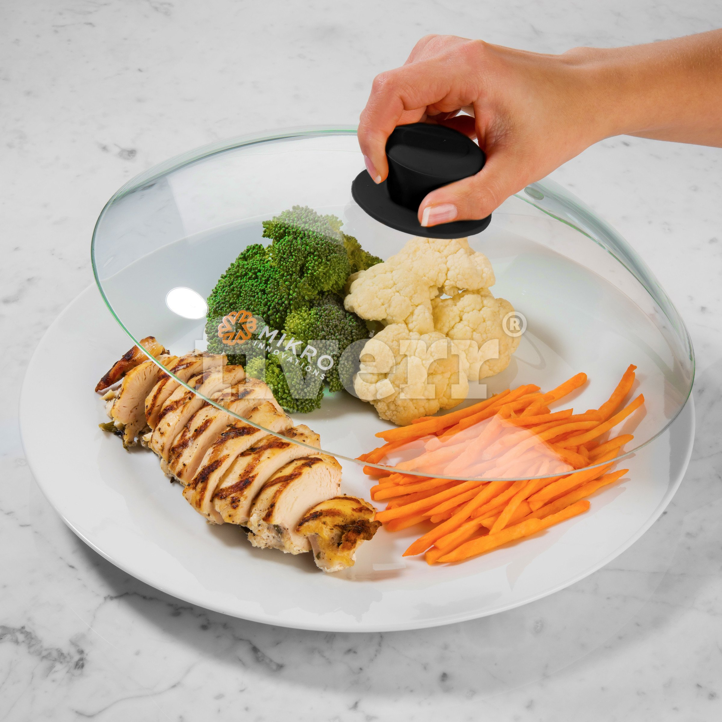 Vented Microwave Glass Food Plate Cover Lid with Firm Grip Silicone Handle and Hardened Safe Tempered Glass Design - Black Knob by Mikro Innovations (Image #3)
