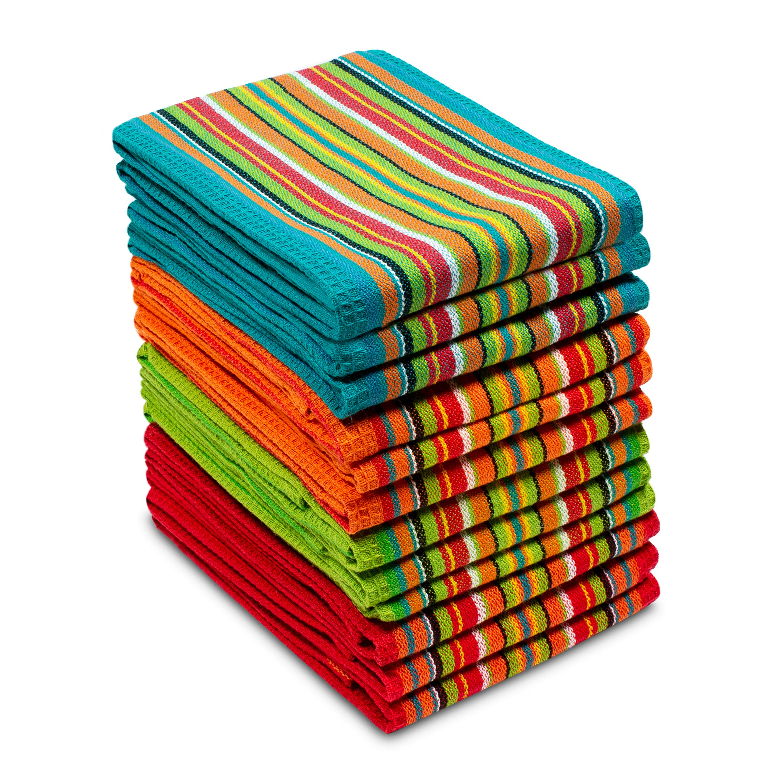 COTTON CRAFT 12 Pack Salsa Stripe Multi-Color Kitchen Towels 16x28 Inches- 100% Cotton by COTTON CRAFT