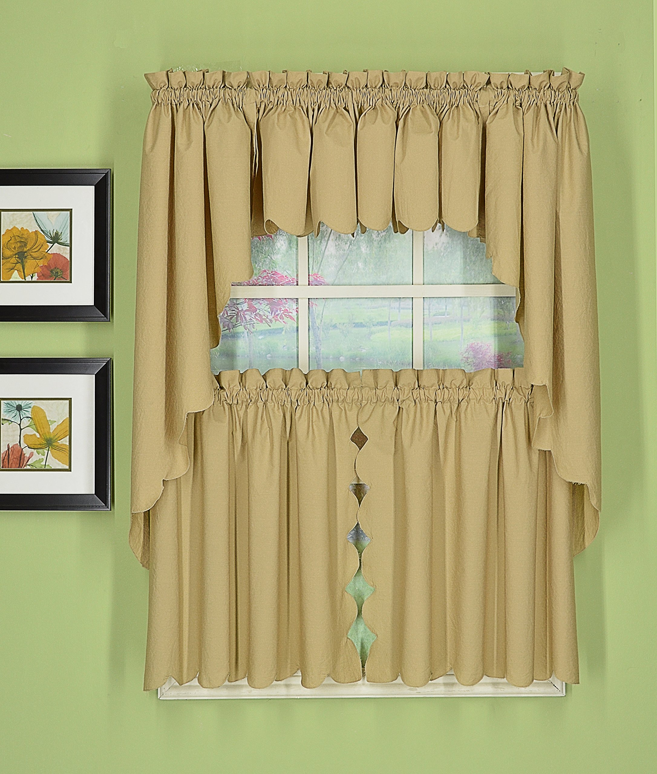 Today's Curtain CA2003K Orleans 38'' Swag Pair Tambour Scallop Edge Curtain, Linen, 60'' W x 38'' L