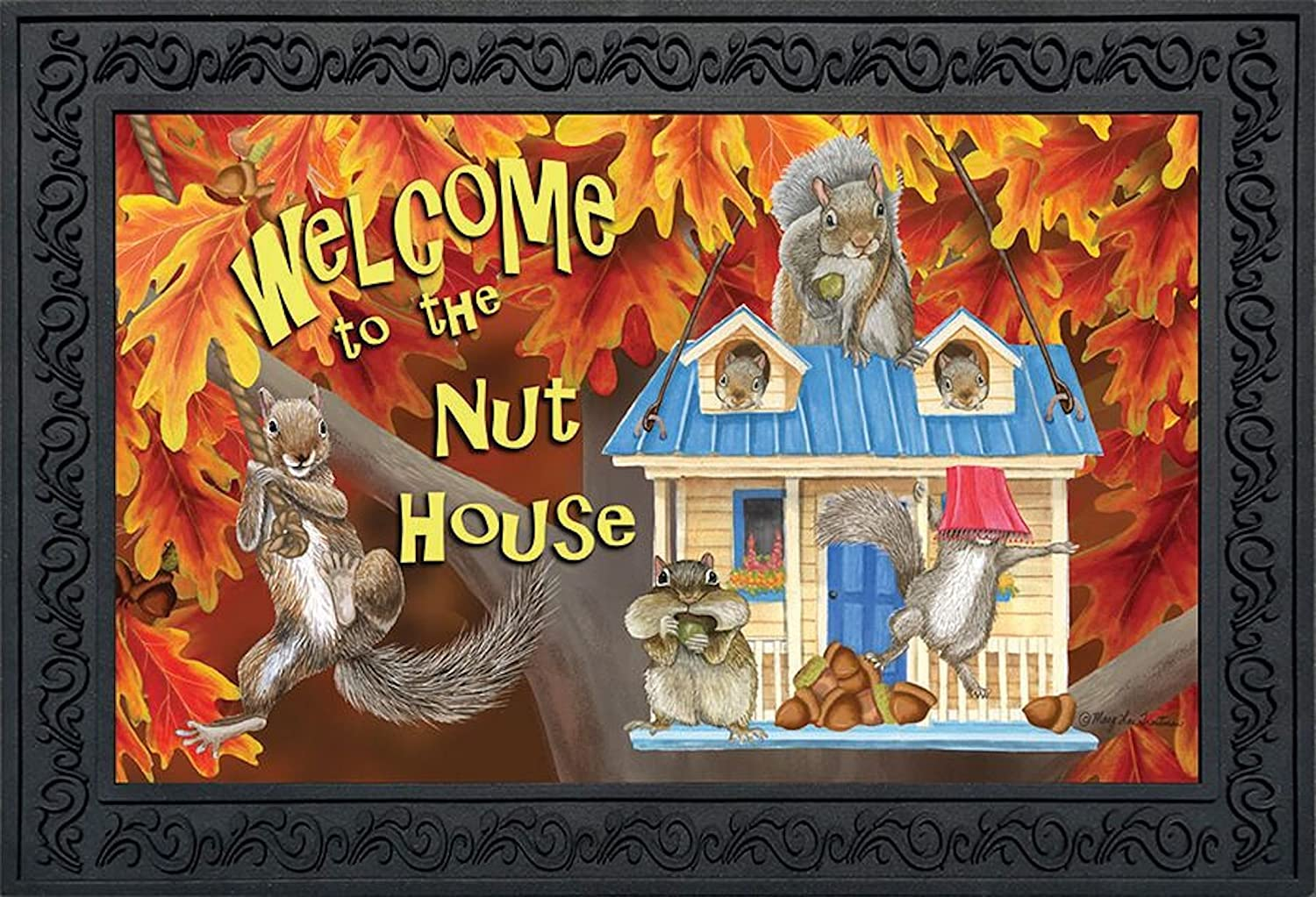 Briarwood Lane Welcome to The Nuthouse Fall Doormat Squirrels Humor Indoor Outdoor 18 x 30