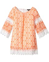 My Michelle Big Girls' Printed Shift Dress With Crochet Details