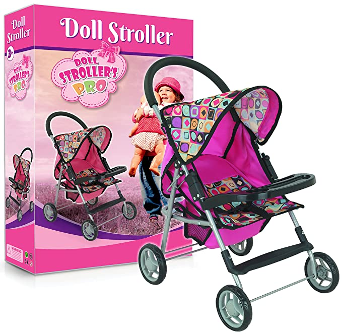 Litti Pritti My First Doll Stroller with Basket and Heart Design Foldable Doll Strollers