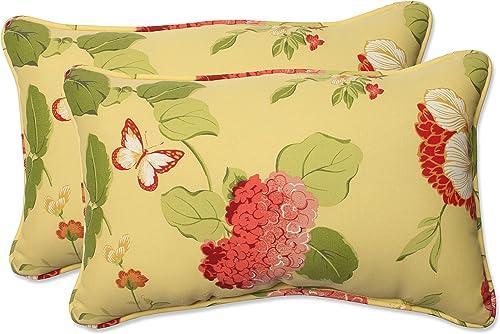 Pillow Perfect Outdoor Indoor Risa Lemonade Lumbar Pillows, 11.5 x 18.5 , Gold, 2 Pack