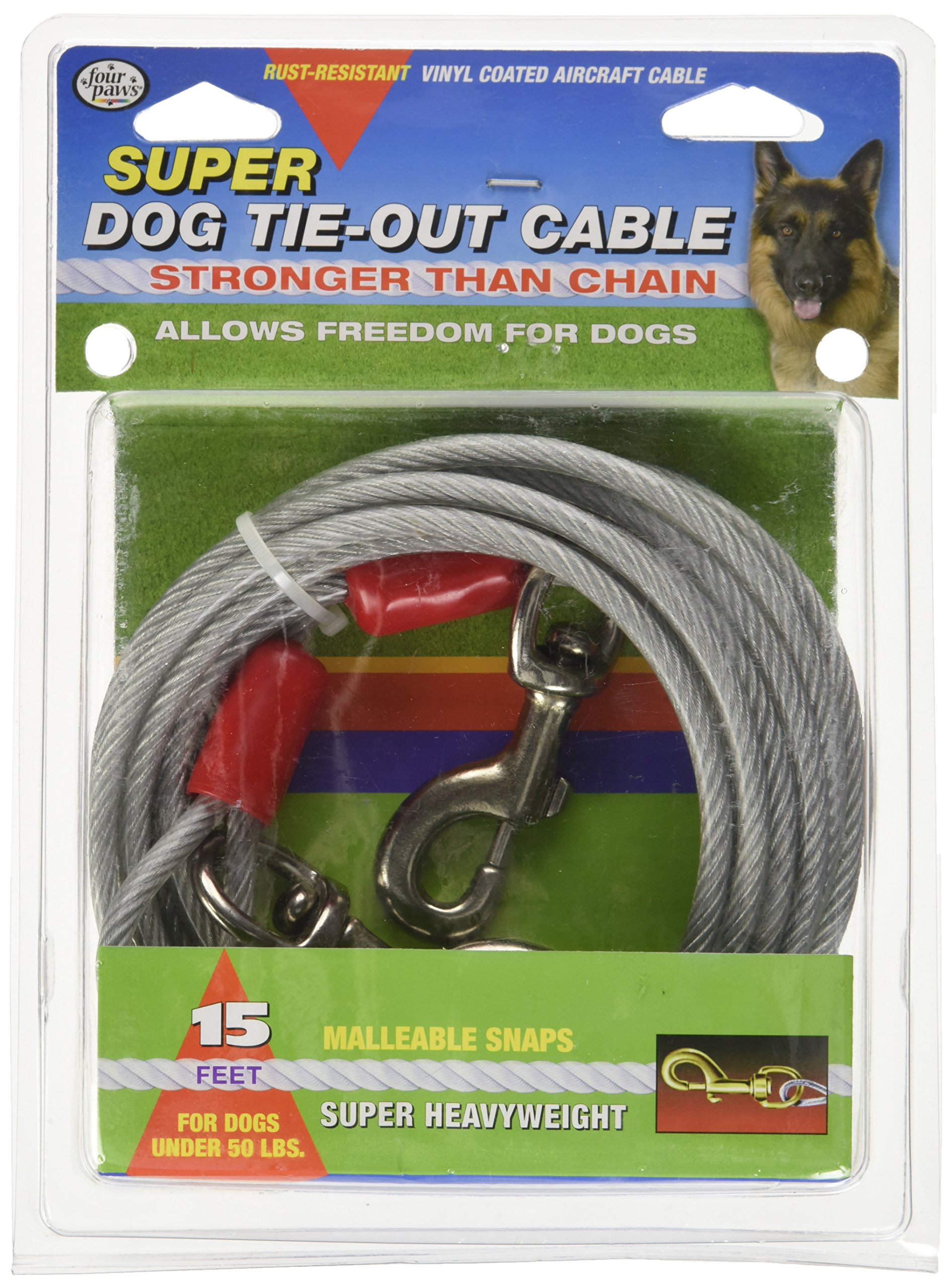 Four Paws Dog Super Tie Out Cable, 15 Foot