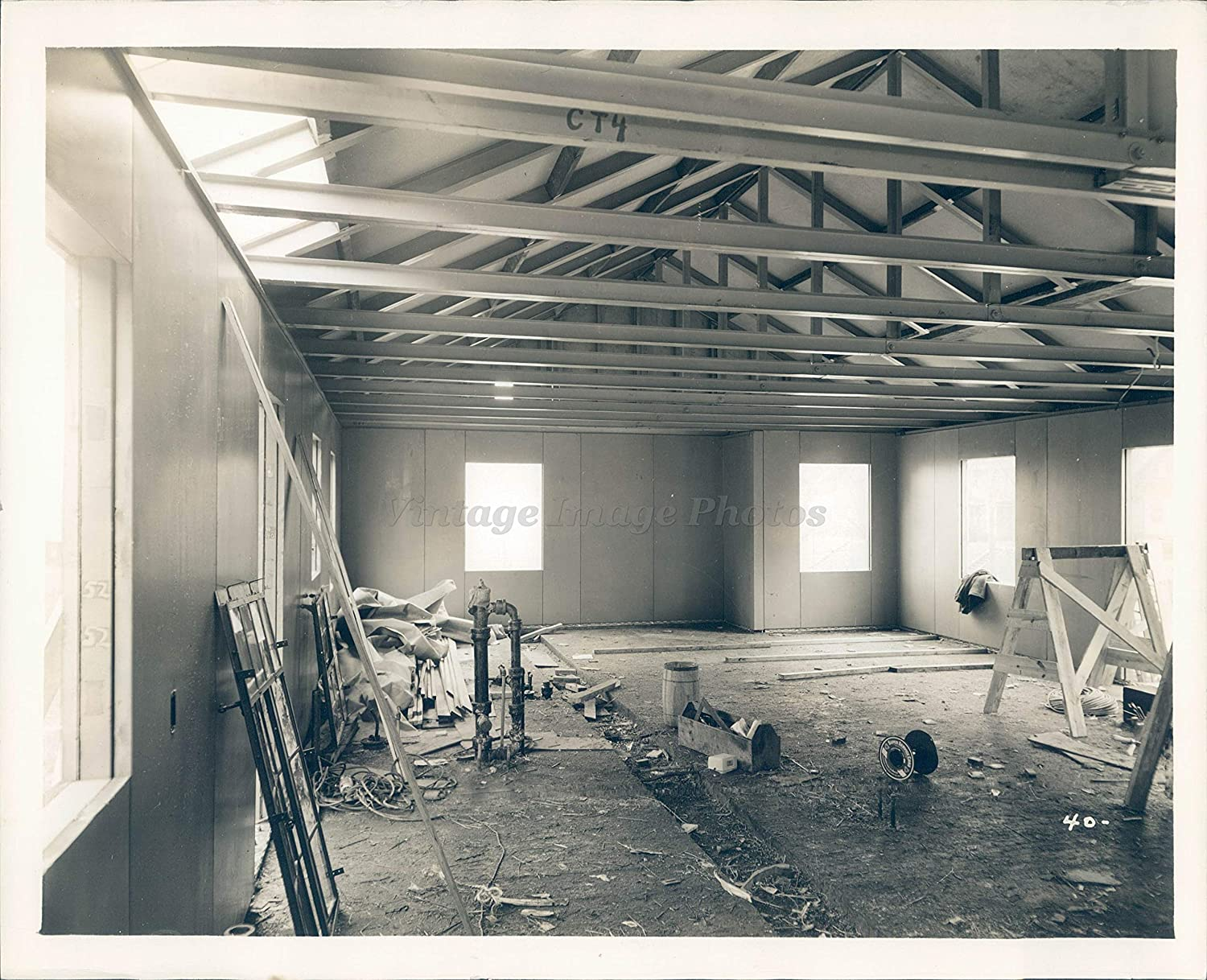 Amazon Com Vintage Photos 1942 Steel Homes Roof Framing Ceiling