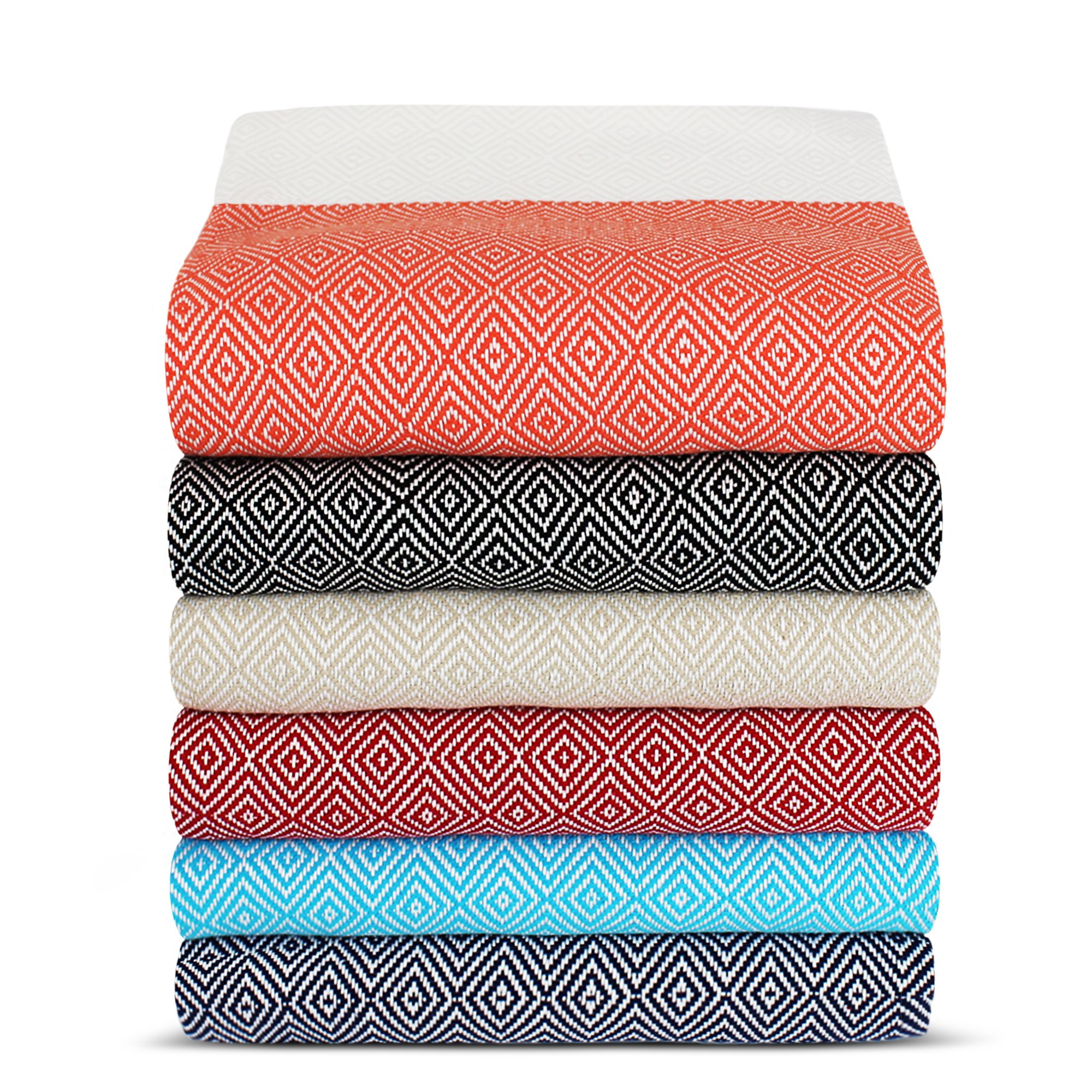 Turkuoise Peshtemal - Set of 4 - Genuine Flat Woven Turkish Towel - Pareo - Sarong - Picnic Blanket - Yoga Mat - Fouta (100% Cotton) (Diamond-Set of 4(Random Colors))