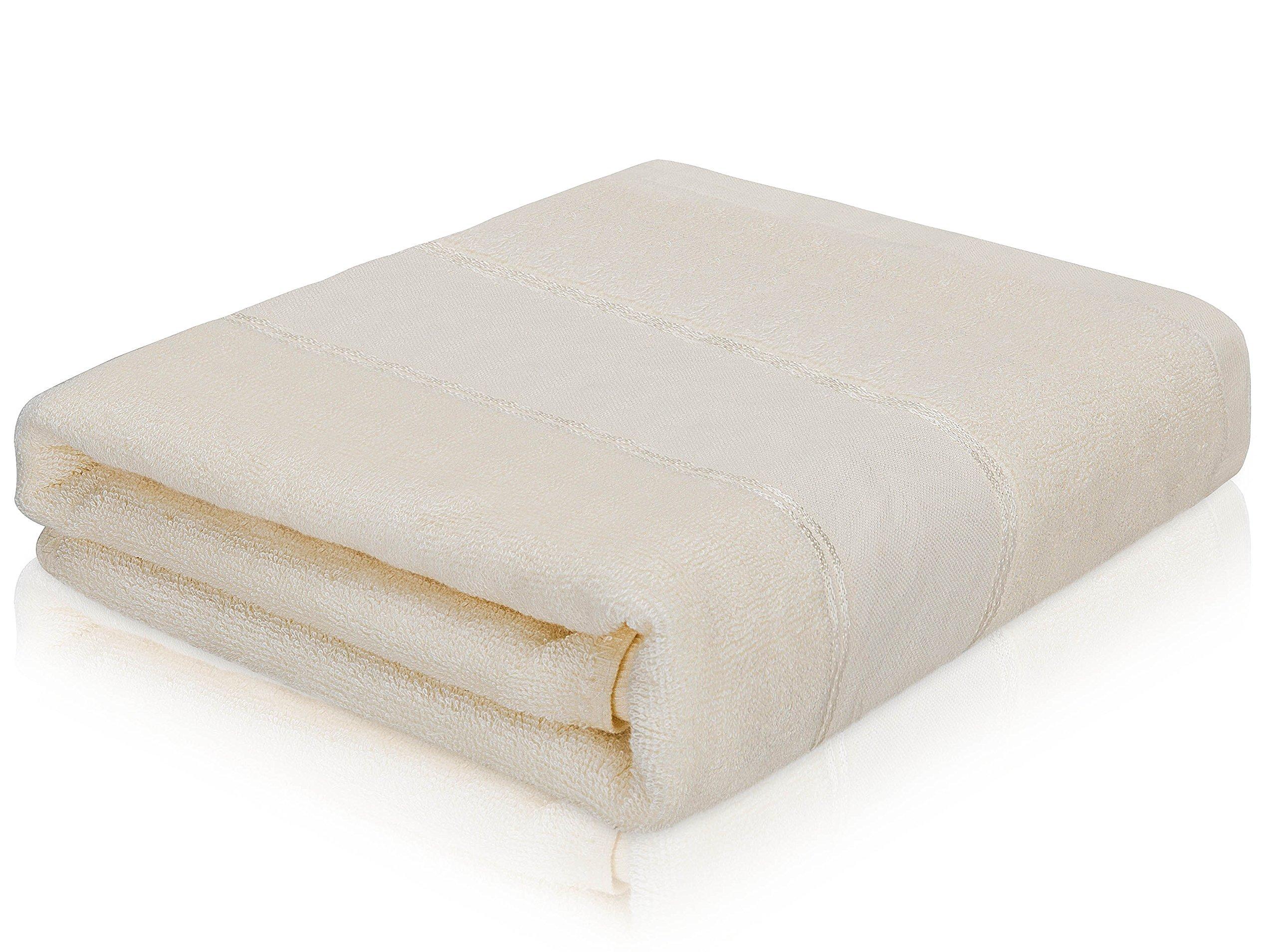 MOBUKIA Bath Towel Large Towel(28x55inch) Bamboo Microfiber Fast Drying Swimming Bathroom Towels (White)