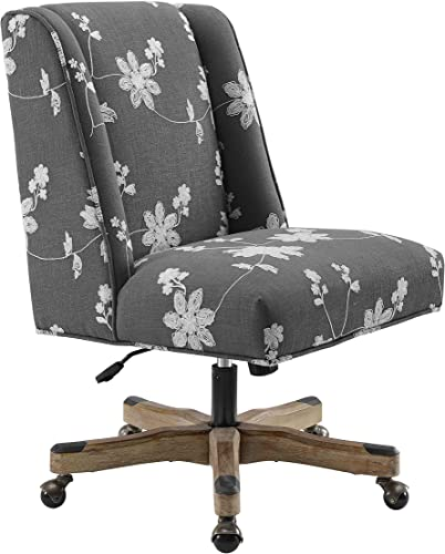 Linon Home D cor OC100GRY01U Brookville Grey Embroidered Office Chair