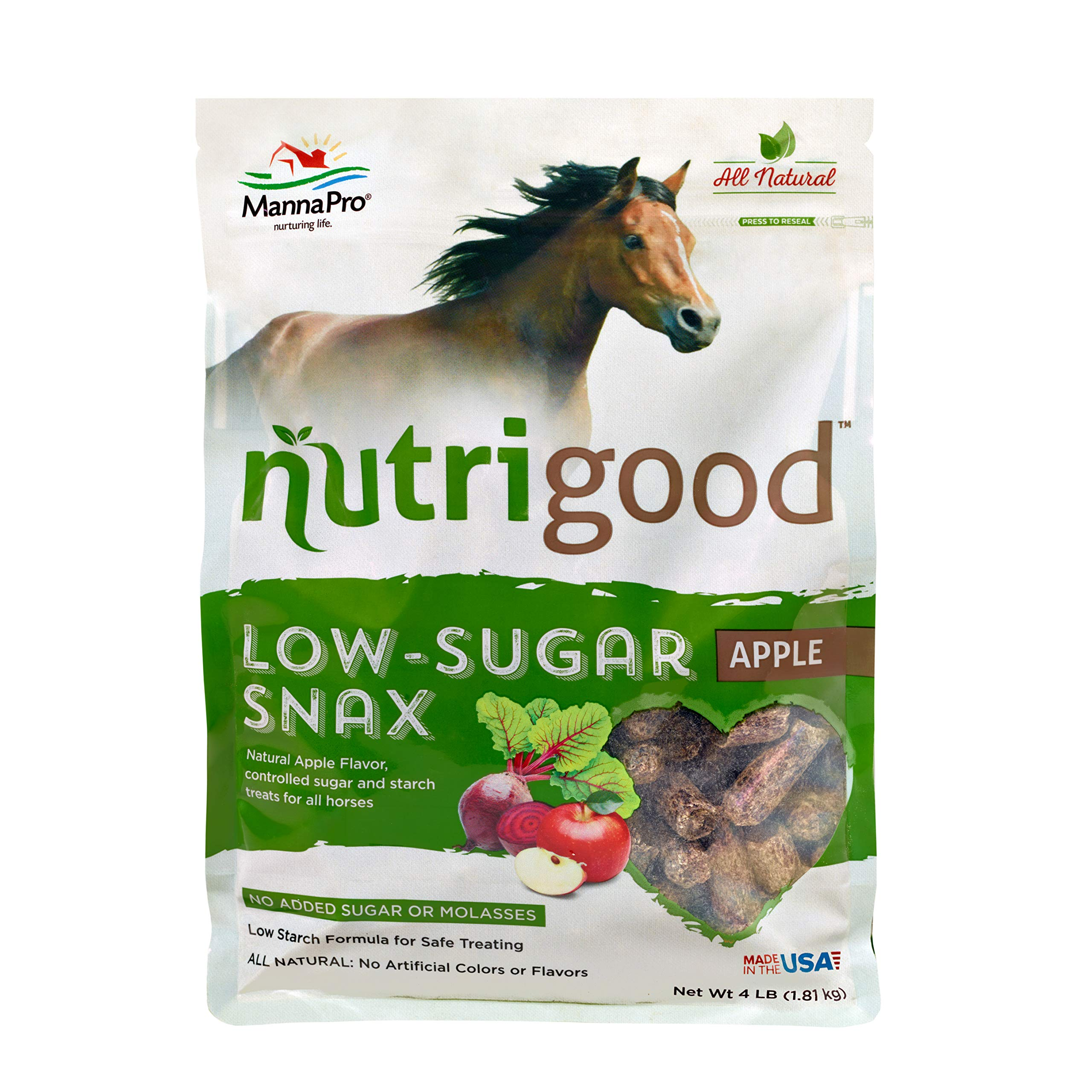 NutriGood Low-Sugar Snax for Horses, Apple by Manna Pro