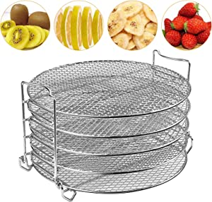 Dehydrator Rack,Dehydrator Stand for Oven/Ninja Foodi Accesories 6.5&7 Qt,Instant Pot Air Fryer 8 Qt Pressure Cooker to Dehydrate Fruits, Meats, Veggie Chips With 5 Stackable Layers,Food-Grade Stainless Steel