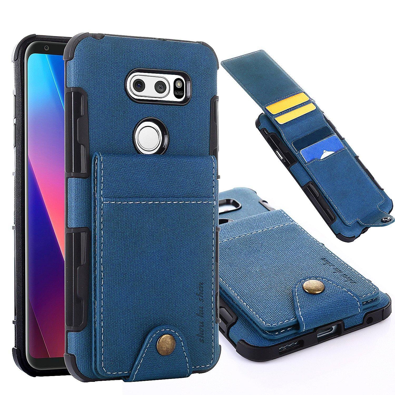 various colors 9e08c 77f03 LG V30 Wallet Case, 5 ID Credit Card Slot, Button Flip-Out Leather Drop  Protection Case - Blue