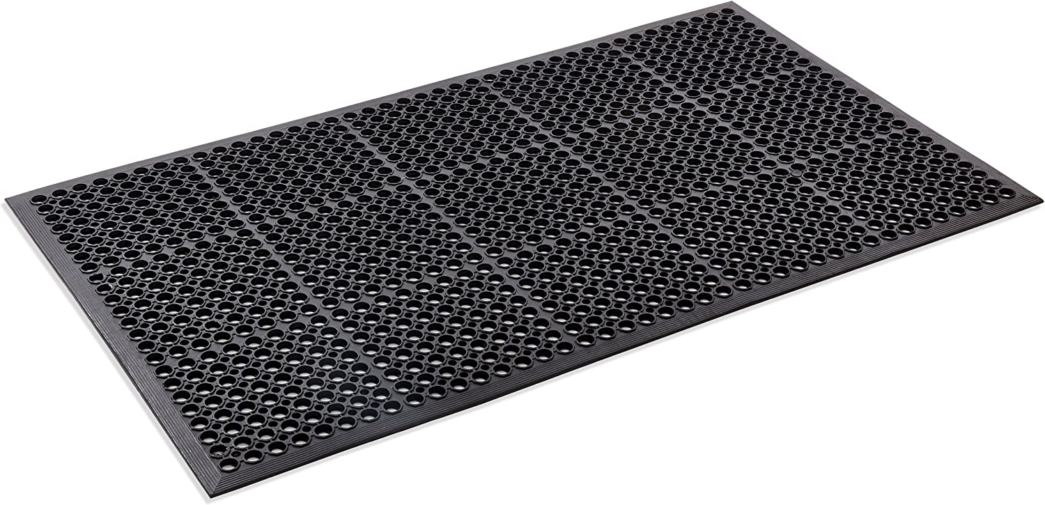 Kempf Anti- Fatigue Drainage Rubber Mat 3' X 5', Restaurant Mat, Industrial Kitchen Mat, Grease Mat