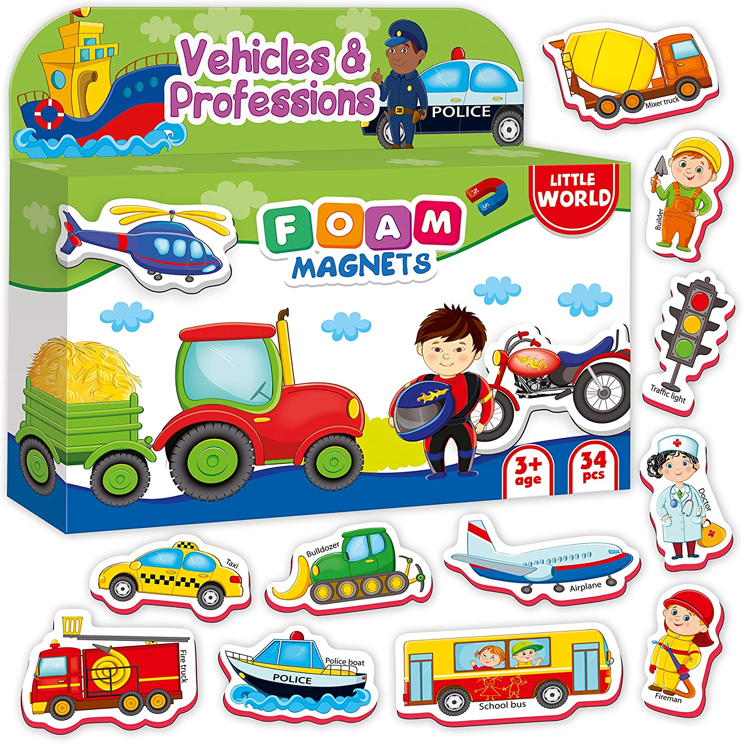 Refrigerator Magnets for Toddlers Kids VEHICLES and PROFESSIONS 34 PCS – Baby Magnets – Foam Magnets - Fridge Magnets for kids - Kids Fridge Magnets - Toddler Magnets for Refrigerator – Kids Magnets