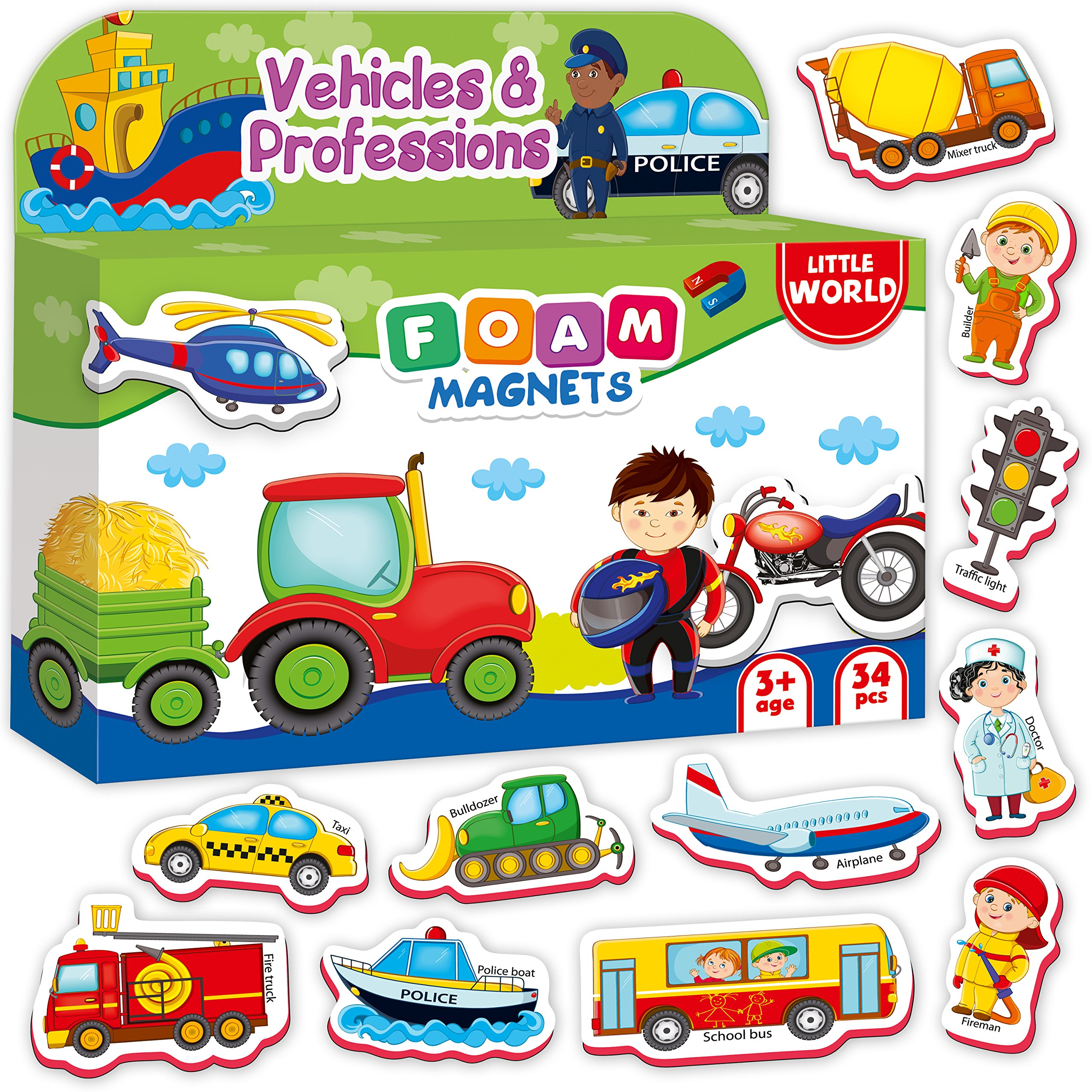 34 Foam Magnets for Kids VEHICLES, TRUCKS, PROFESSIONS - Kid Magnets for Refrigerator - Baby Magnets for Fridge - Refrigerator Magnets for Toddlers Babies Children - Toddler Magnets age 1 2 3 old boys by Little World