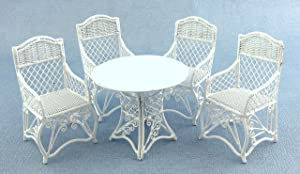Town Square Miniatures Dolls House Garden Furniture White Wrought Iron Patio Set Table 4 Chairs