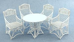 Town Square Miniatures Dolls House Garden Furniture White Wrought Iron Patio Set Table 4 Chairs