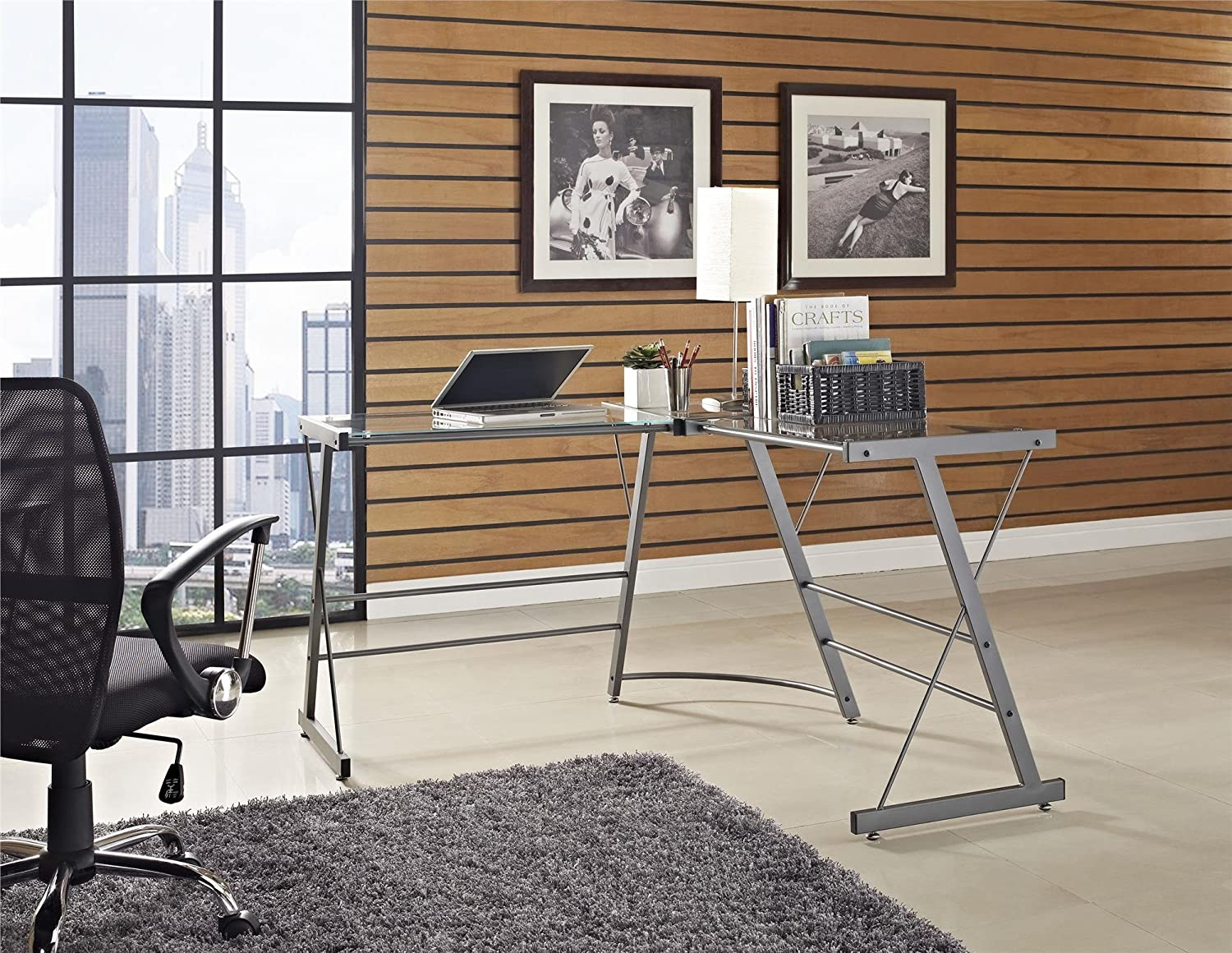 Amazon.com: Ameriwood Home Odin Glass L Shaped Computer Desk, Gray: Kitchen  U0026 Dining