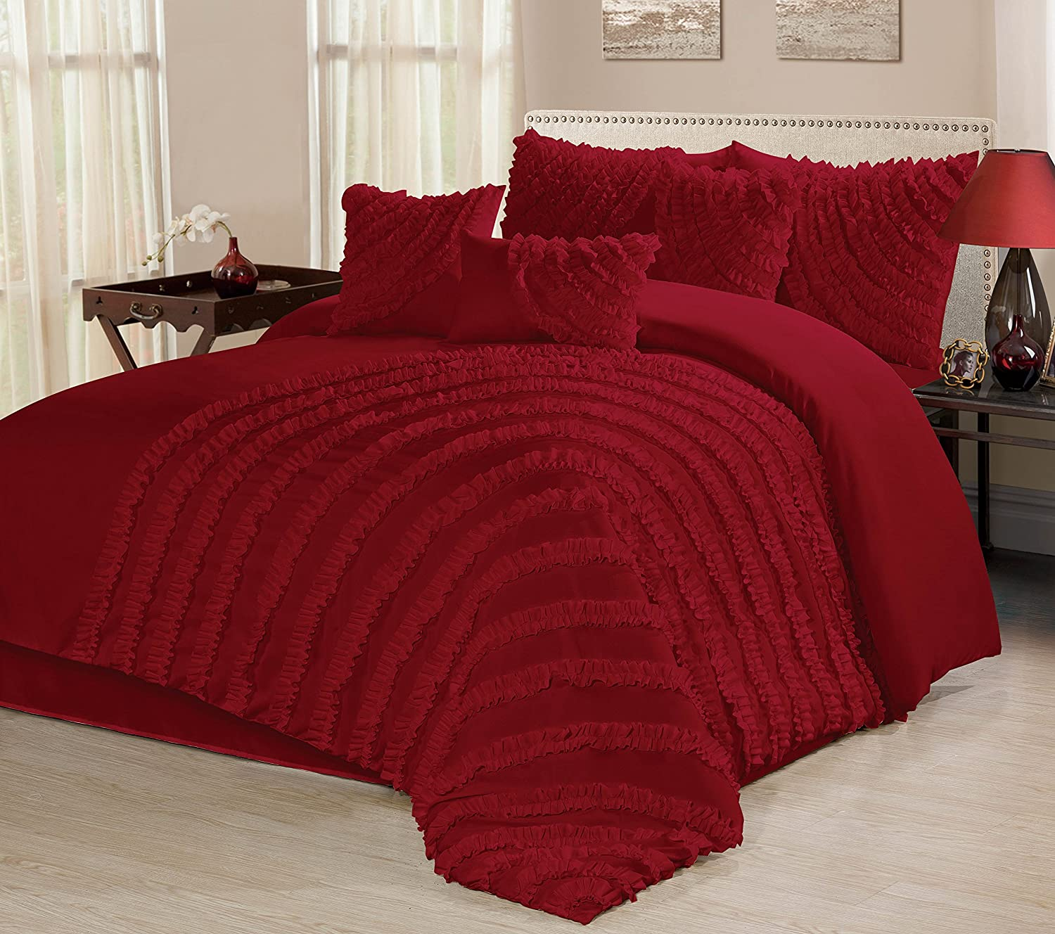 Amazon Com 7 Piece Hillary Bed In A Bag Ruffled Comforter Sets