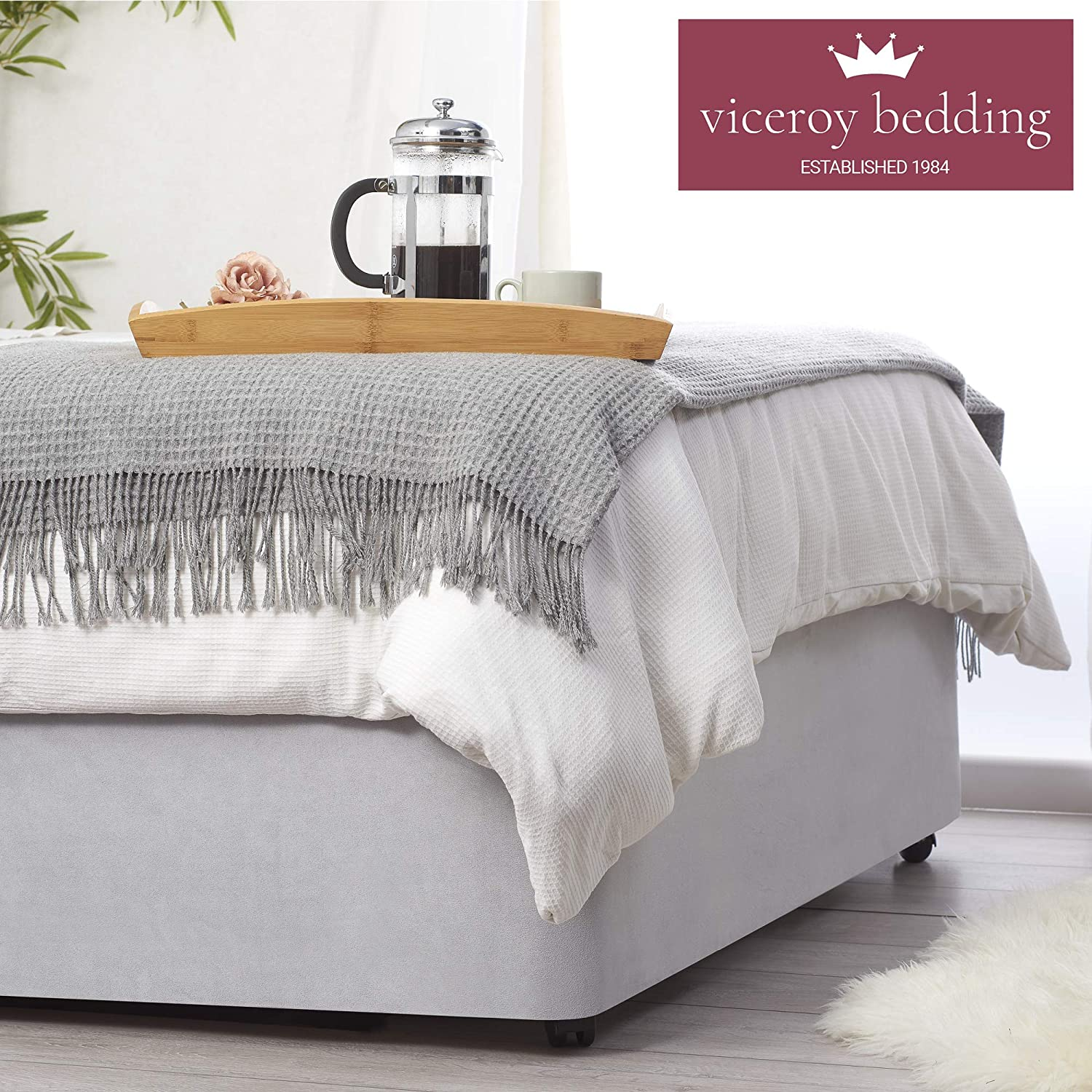 Silver, 4ft Small Double Wraps Itself Around The Base of Bed Frame Bed Wrap FAUX SUEDE Divan Bed Base Wrap COVER Alternative to Traditional Valance Sheet Fully Elasticated Skirt Easy To Fit